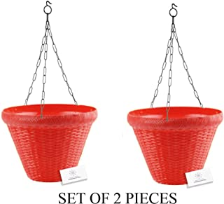 Unique Plastic Hanging Pot with Metal Chain (Red, Pack of 2)