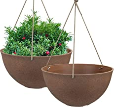 Hanging Planters for Outdoor Plants Flower Pots Indoor 13.2 inches Durable Resin Planters Set of 2(Terracotta Color)