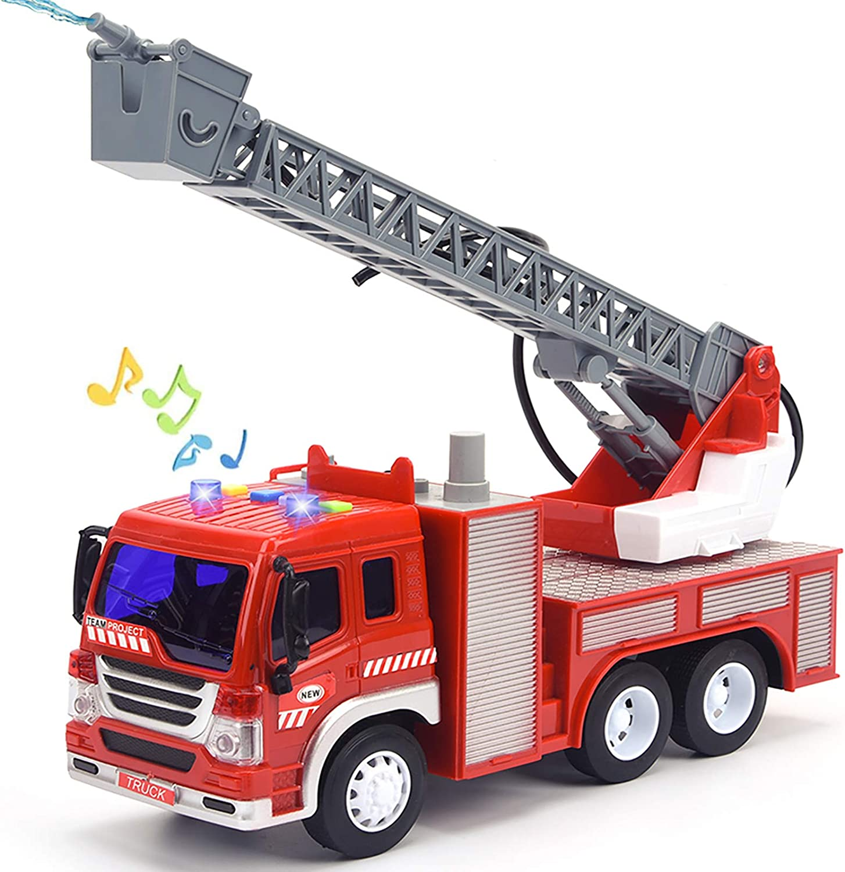 Amazon Com Juguete De Camión De Bomberos Con Luces Y Sonidos 10 5 Pulgadas De Fricción Con Bomba De Agua Sirenas Y Escalera Extensible Camión De Juguete Para Niños Pequeños Escala 1 16 Toys