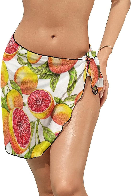 JINJUELS Women Beach Wrap Skirt Chiffon Sarong Pareo Swimsuit Bikini Cover Ups Sweet Grapefruit