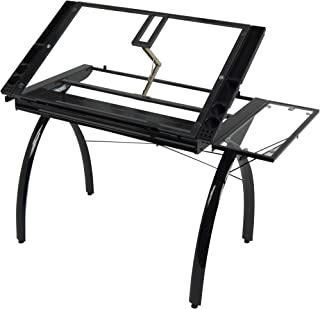 Studio Designs 10097 Futura Station with Folding Shelf Top Adjustable Drafting Craft Drawing Hobby Table Writing Studio Desk with Drawer, 35.5'' W x 23.75'' D, Black/Clear Glass