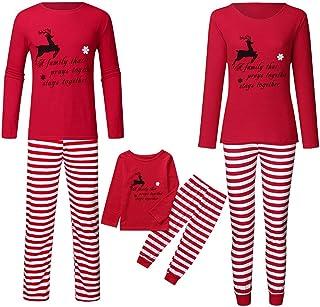 Pijama de Navidad a Juego de 2 Piezas de la Familia Ropa de Navidad de Manga Larga Camiseta Mono + Pantalones Pijamas Familia Navidad Pijamas