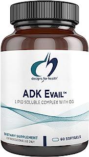 Designs for Health ADK Evail - 5000 IU Vitamin D Supplement with Vitamins A, E (Gamma Delta Tocotrienols), K (K1 + K2) - F...