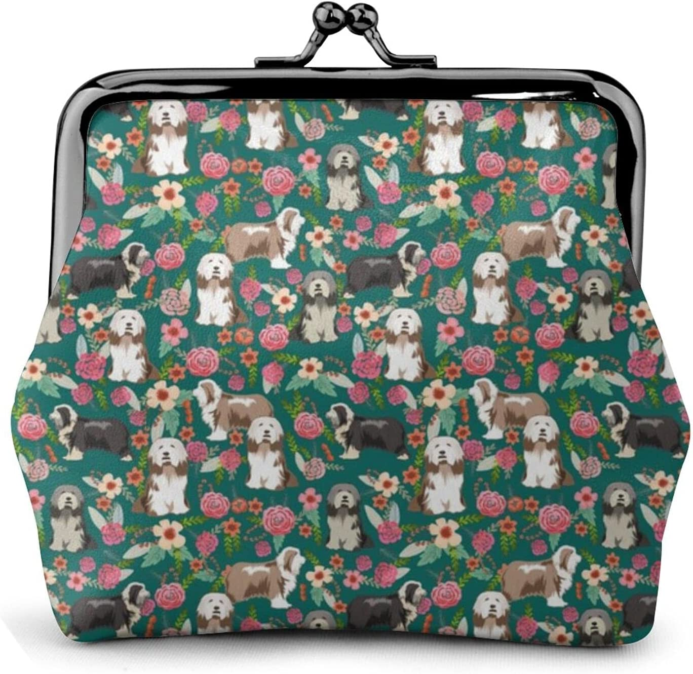 Bearded Collie Floral 302 Coin Purse Retro Money Pouch with Kiss-lock Buckle Small Wallet for Women and Girls