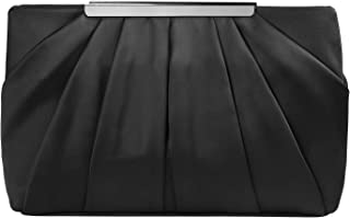 ROSA&ROSE Damen Clutch Elegante Kettentasche Handtasche Abendtasche für Party Braut Mädchen (Schwarz)
