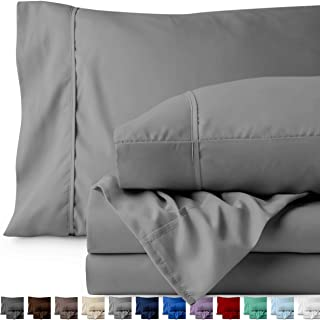 Bare Home Split King Sheet Set - 1800 Ultra-Soft Microfiber Bed Sheets - Double Brushed Breathable Bedding - Hypoallergenic – Wrinkle Resistant - Deep Pocket (Split King, Light Grey)