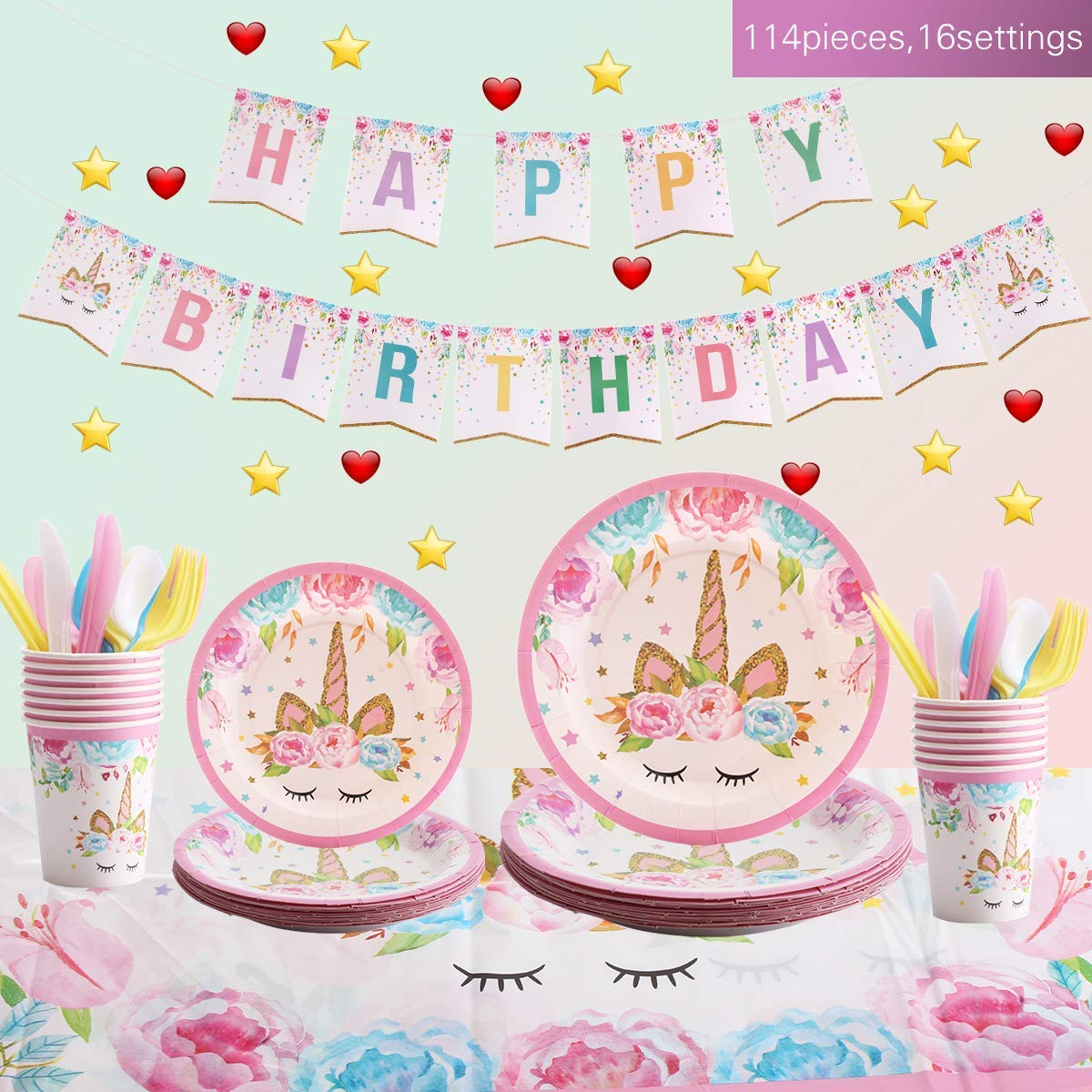 FOCCTS Unicorn Party Supplies Set - Serves 16 - Unicorn Decorations and Tableware - Birthday Party Favors Decorations for Kids Girls - Including Plates, Unicorn Tablecloth, Cups, Cutlery Set, Napkins Set - 114 Pieces