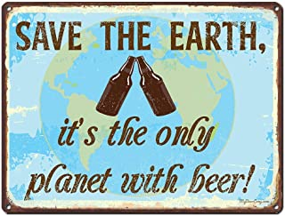 KE OU Save The Earth Tin Sign Metal Plaque Vintage Iron Painting Art Work Warning Store Home Yard Cafe Bar Kitchen Lounge