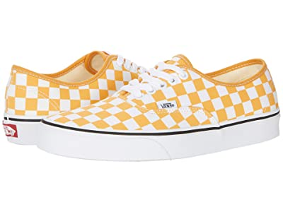 Vans Authentic ((Checkerboard) Golden Nugget/True White) Skate Shoes