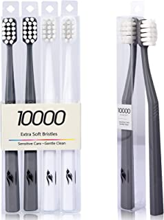 Extra Soft Toothbrush for Sensitive Teeth, Pengu Ice Upgraded 4 Pcs Micro Nano Soft Bristles Toothbrushes with 10000 Brist...