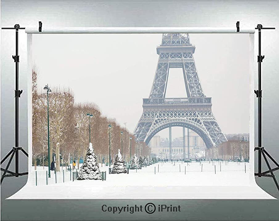Winter Photography Backdrops Eiffel Tower Covered in Snow Outdoors Champ de Mars Tourist Attraction Paris France Decorative,Birthday Party Background Customized Microfiber Photo Studio Props,7x5ft,