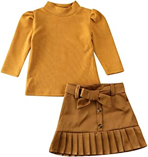 Toddler Baby Girl Winter Skirts Outfit Set Ball Ribbed Knit Sweatshirt Tops + Black Pencil Skirts Fall Clothing Set