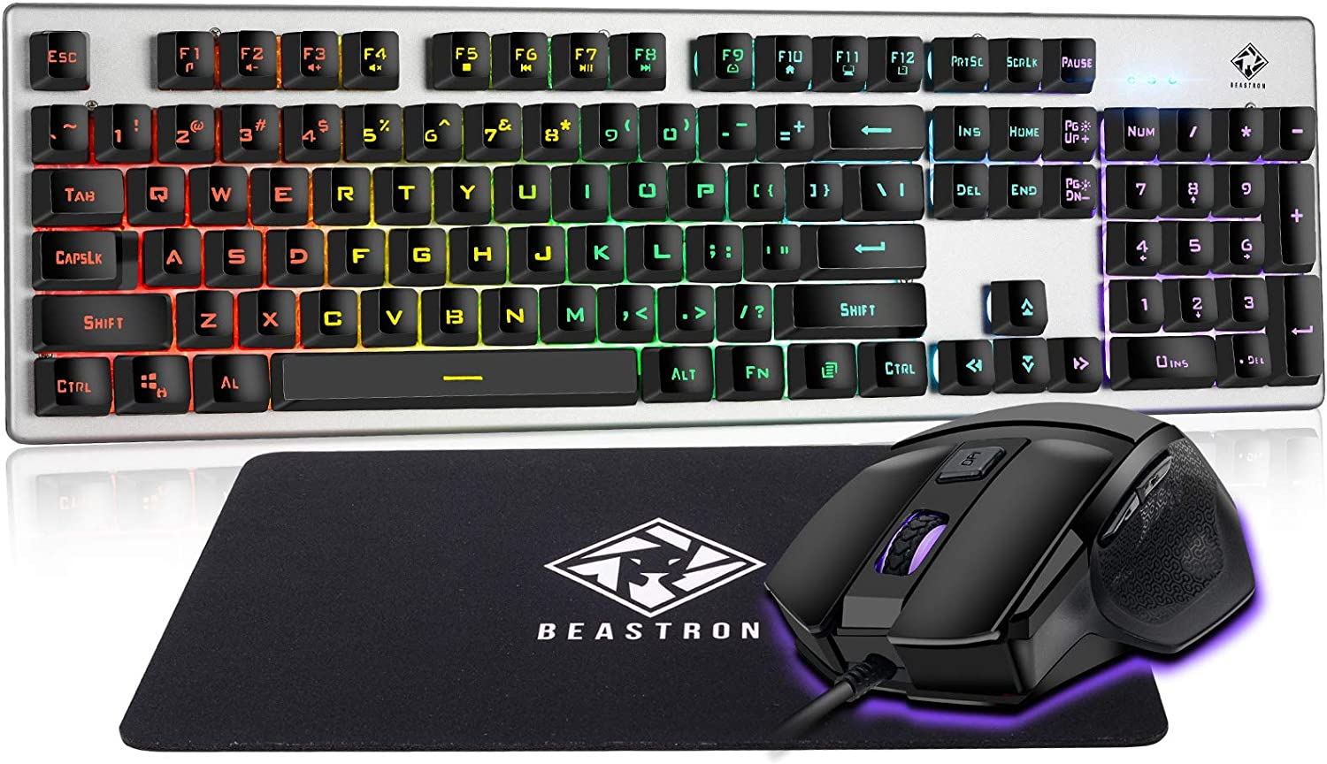 Beastron Gaming Keybaord and Mouse Gaming Mouse Pad, LED Rainbow Backlit USB Wired Computer Keyboard 104 Keys Mechanical Feel Gaming Keyboard Set for Windows PC Gamer, Black