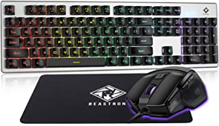 Beastron Gaming Keybaord and Mouse Gaming Mouse Pad, LED Rainbow Backlit USB Wired Computer Keyboard 104 Keys Mechanical F...