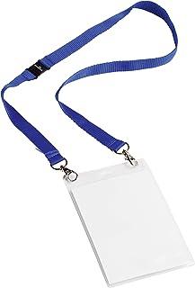 Durable 852507 Pochette Porte-badge Evènement avec Lacet Textile Duo Bleu pour Insertion Format A6 148 x 105 mm Plastique ...