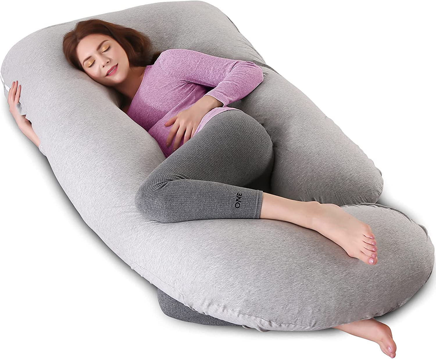 Pregnancy Pillow U Shaped Full Body Pillow with Washable Jersey Cover - 57 inches Maternity Pillow for Pregnant Women - Support Head, Back, Shoulder, Hips, Legs and Belly (Gray)