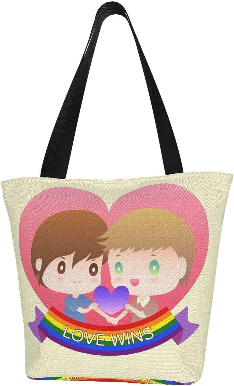 Love Rainbow Wins Cute Themed Printed Women Canvas Handbag Zipper Shoulder Bag Work Booksbag Tote Purse Leisure Hobo Bag For Shopping