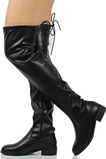 c45410f3185 Nature Breeze Women s Faux Suede Back Tie up Over The Knee Low Heel Dress  Boot