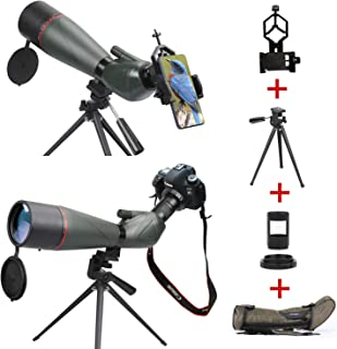 USCAMEL 20-60 x 80mm HD Waterproof Spotting Scopes with Tripod, BAK4 Prism Scope for Bird Watching Stargazing Target Shooting Archery, with Phone Adapter, SLR Mount for Canon,Carrying Bag Kit