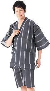 KYOETSU Men's Japanese Jinbei Kimono Shijira Stripe 36