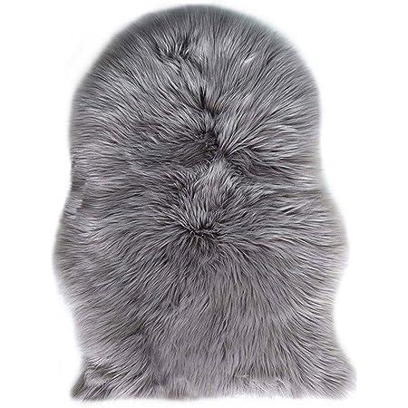 Mouton sheepskin d/'un Épais Shaggy Tapis Douillet de qualité gris 60x90cm