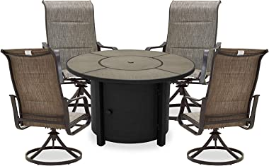 PatioFestival Patio Dining Set 5Pcs Outdoor Furniture Sets 50,000 BTU Round Propane Fire Pit Table with Swivel Rocker Dining