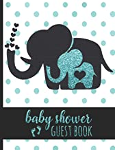 Baby Shower Guest Book: Keepsake For Parents of Baby Boy - Guests Sign In And Write Specials Messages To Baby & Parents - Cute Mom & Baby Blue Elephant Cover Design & Hearts - Bonus Gift Log Included