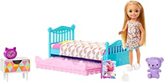 Barbie Club Chelsea Toy, 6-inch Blonde Doll and Bedroom Playset with Working Trundle Bed, Nightstand with Drawer, Teddy Be...