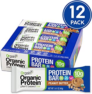 Orgain Organic Plant Based Protein Bar, Peanut Butter - Vegan, Gluten Free, Non Dairy, Soy Free, Lactose Free, Kosher, Non-GMO, 1.41 Ounce, 12 Count