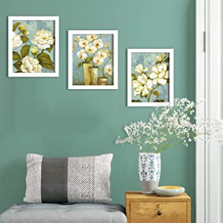 Painting Mantra Synthetic Floral Framed Painting, White, Print, 9x11 inches
