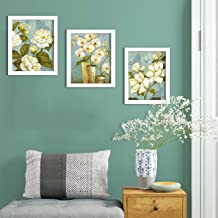 Painting Mantra - White Flower Set of 3 White Framed Painting,UV Textured Art Prints (9 x 11 inch)