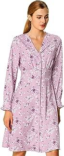 Allegra K Women's Fall Notch Lapel Shirt Dress Long Sleeve Smocked Waist Floral Dress