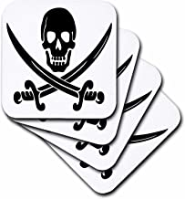 3dRose Pirate Skull and Crossblades-Ceramic Tile Coasters, Set of 4 (CST_130871_3)