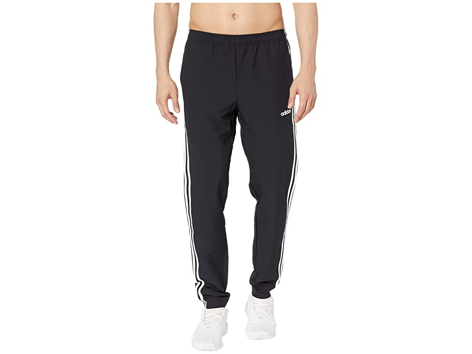 adidas Essential 3-Stripe Woven Open Hem Pants (Black/White) Men