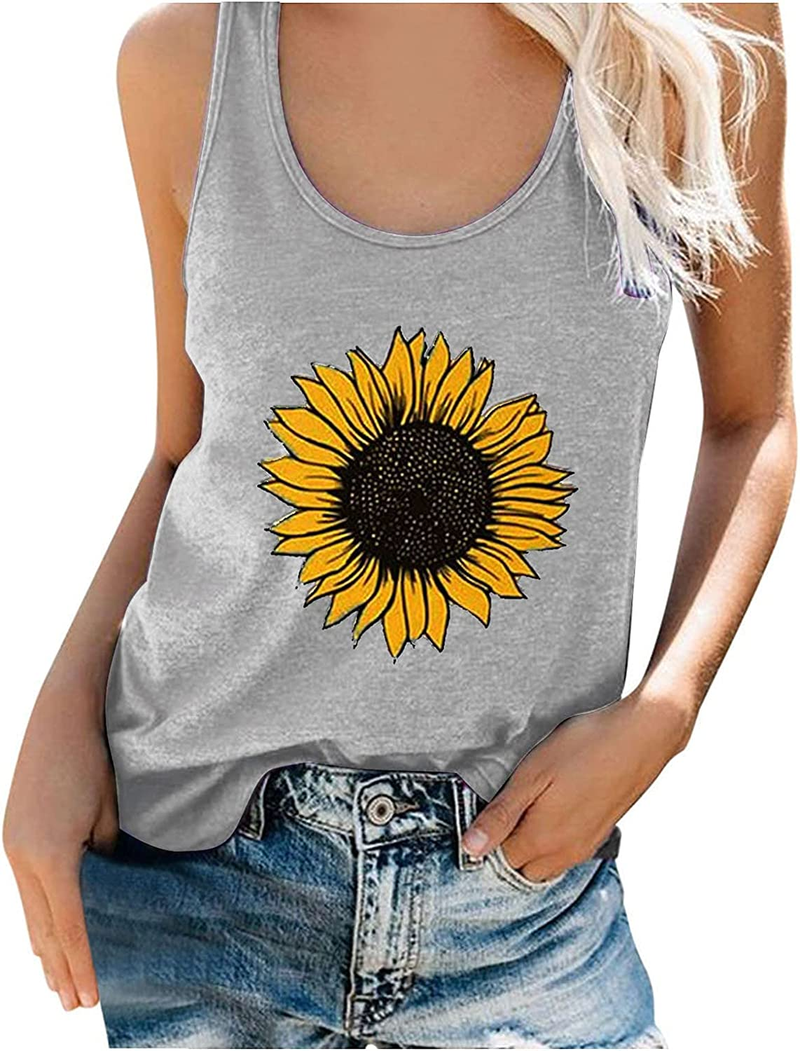 Women Graphic Tank Tops Loose Fit Sleeveless Casual Summer Tops Workout Tee Shirts Funny Sunflower Printed T Shirt