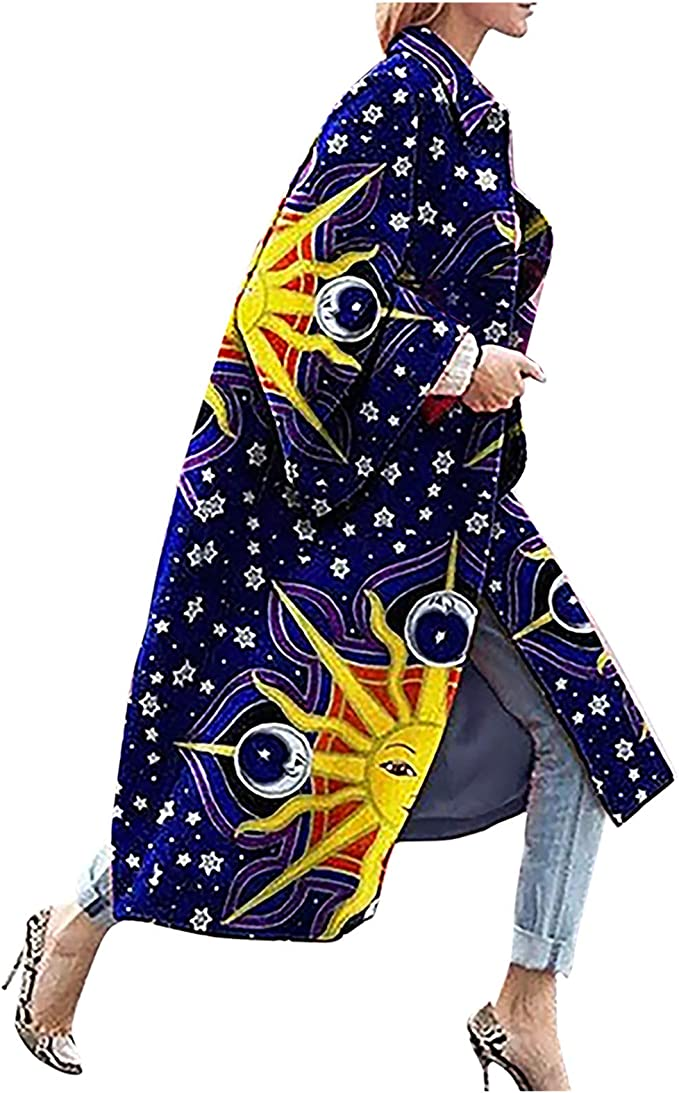 Rungion Womens Colorful Geometric Abstraction Print Long-Sleeve Trench Coat Open Front Soft Winter Kimono Fleece Jacket