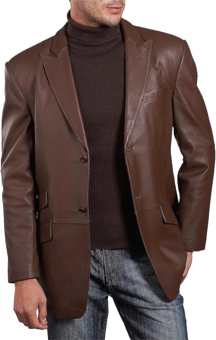 BGSD Men's Noah 2-Button Leather Blazer Lambskin Sport Coat Jacket (Regular and Tall)