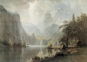 Albert Bierstadt in The Mountains 1867 Luminism Oil On Canvas Landscape Painting Cool Wall Decor Art Print Poster 36x24