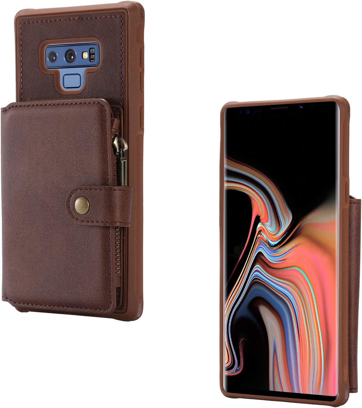 Galaxy Note 9 Case, Note 9 Wallet Case - Techcircle Premium Flip Leather Protective Case with Credit Card Holder [Zipper] Magnetic Closure Purse Designed for Samsung Galaxy Note 9 2018 - Coffee