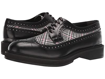 Alexander McQueen Plaid Wing Tip Oxford (Black/Pink) Men