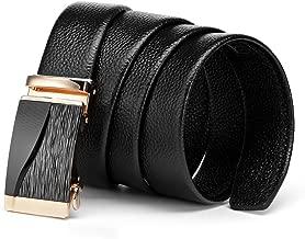 Men Slide belt,Leather Belts Automatic Buckle Ratchet Business casual Dress Belts