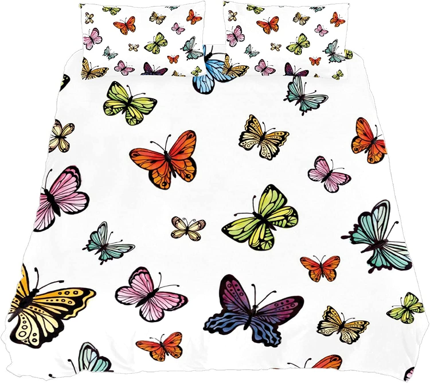 BOLIMAO 3-Piece Bedding Sets security Colorful One Duvet Butterflies Long Beach Mall Cove