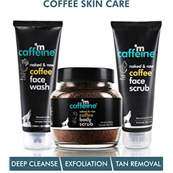 mCaffeine Complete Coffee Skin Care Combo Face wash(100ml),Body scrub(100gm),face scrub(100gm)  Exfoliation, Tan Removal, Deep Cleanse   Oily/Normal Skin   Paraben & SLS Free
