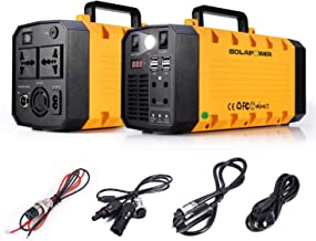 SOLARPOWER 500W Generator Portable Power Station-[ UPS 500W Continuous 1000w Peak ]-Lithium Battery Inverter with 110V AC Outlet, 4 DC 12V Port, 4 USB, Solar Generators for Camping CPAP Emergency Home