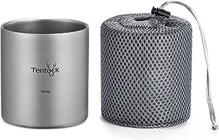 Tentock Camping Double Walled Titanium Mug 350ml/450ml Outdoor Tea Coffee Cup Tableware (450ml)