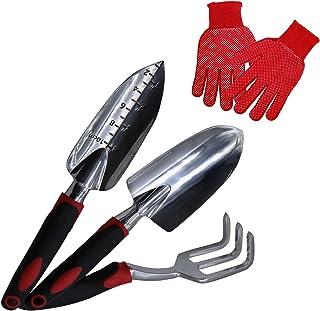 TSSM Garden Tools Set 4 Piece, Aluminum Heavy Duty Gardening Tool Kit Includes Trowel Gloves, Transplant, Cultivator Hand ...