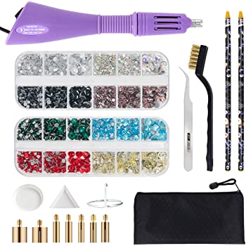 Hotfix Applicator Tool, Bedazzler Kit with DIY Hot Fix Rhinestones Include 7 Tips, Support Stand Tweezers Cleaning Brush Wax Pencils and 2400 Rhinestone (Purple)