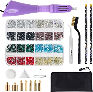 Hotfix Applicator Tool, Bedazzler Kit with DIY Hot Fix Rhinestones Include 7 Tips,..