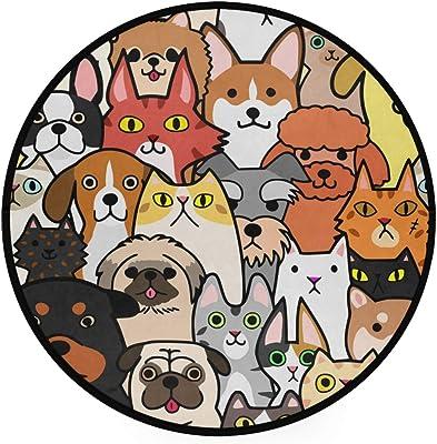 ZZKKO Cat Dog Family Round Area Rug Non-Slip Living Room Bedroom Children Playroom Carpet Floor Mat Home Decoration 3 x 3 Feet