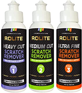 Rolite - RSR3STEP4zCP 3 Step Scratch Removal System for Clear Plastic and Acrylic Surfaces - Heavy Cut, Medium Cut and Ult...